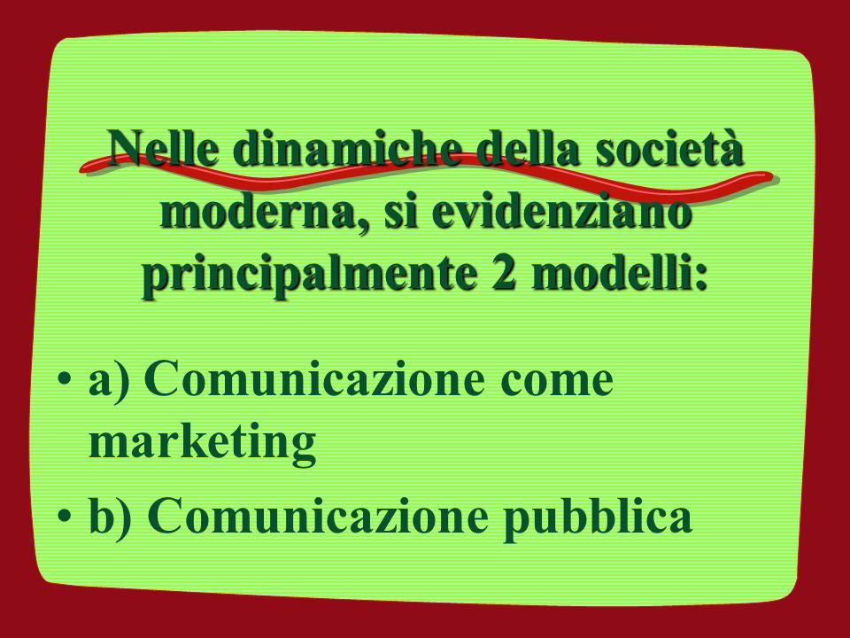a) Comunicazione come marketing b) Comunicazione pubblica