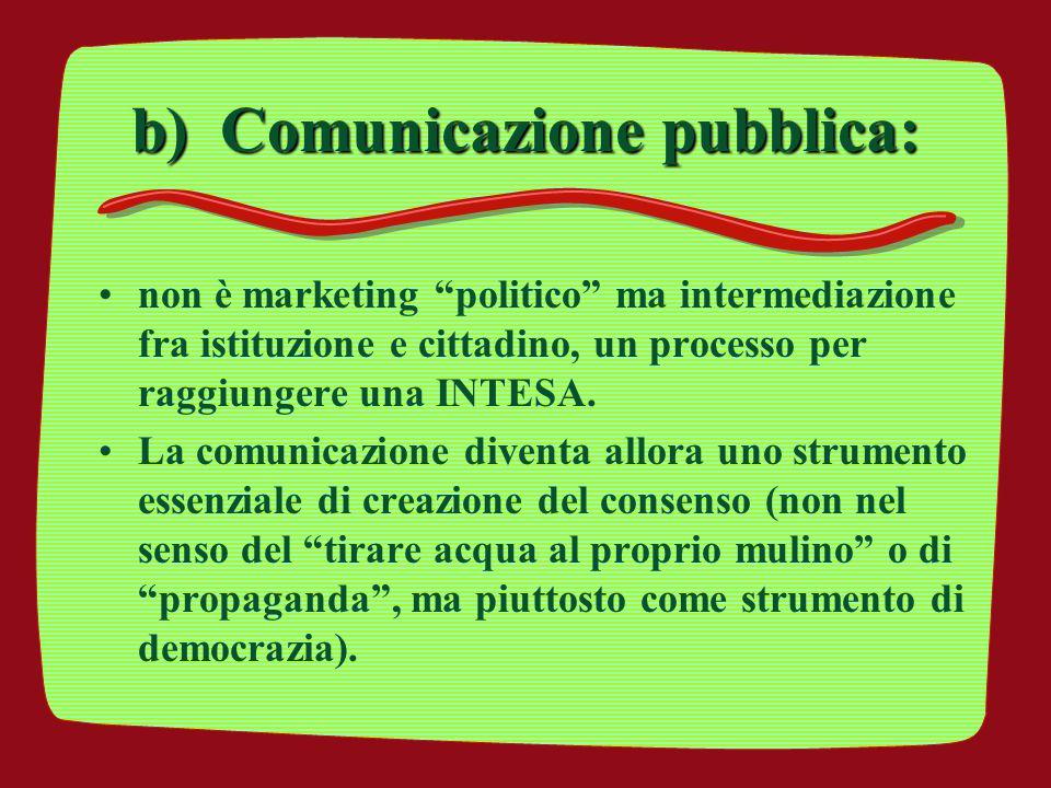 b) Comunicazione pubblica: