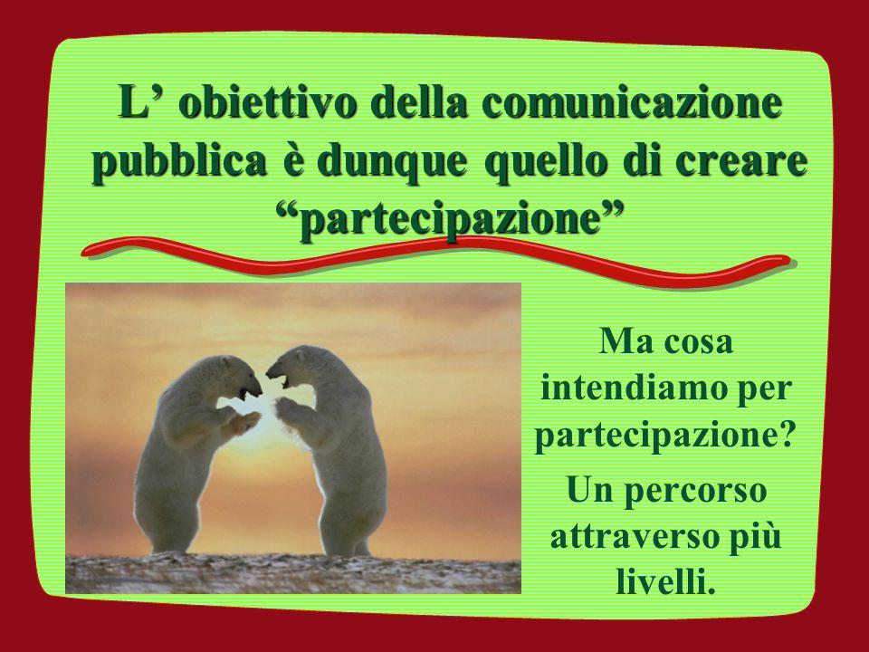 L' obiettivo della comunicazione pubblica è dunque quello di creare partecipazione