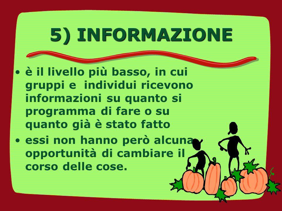 5) INFORMAZIONE è il livello più basso, in cui gruppi e individui ricevono informazioni su quanto si programma di fare o su quanto già è stato fatto.