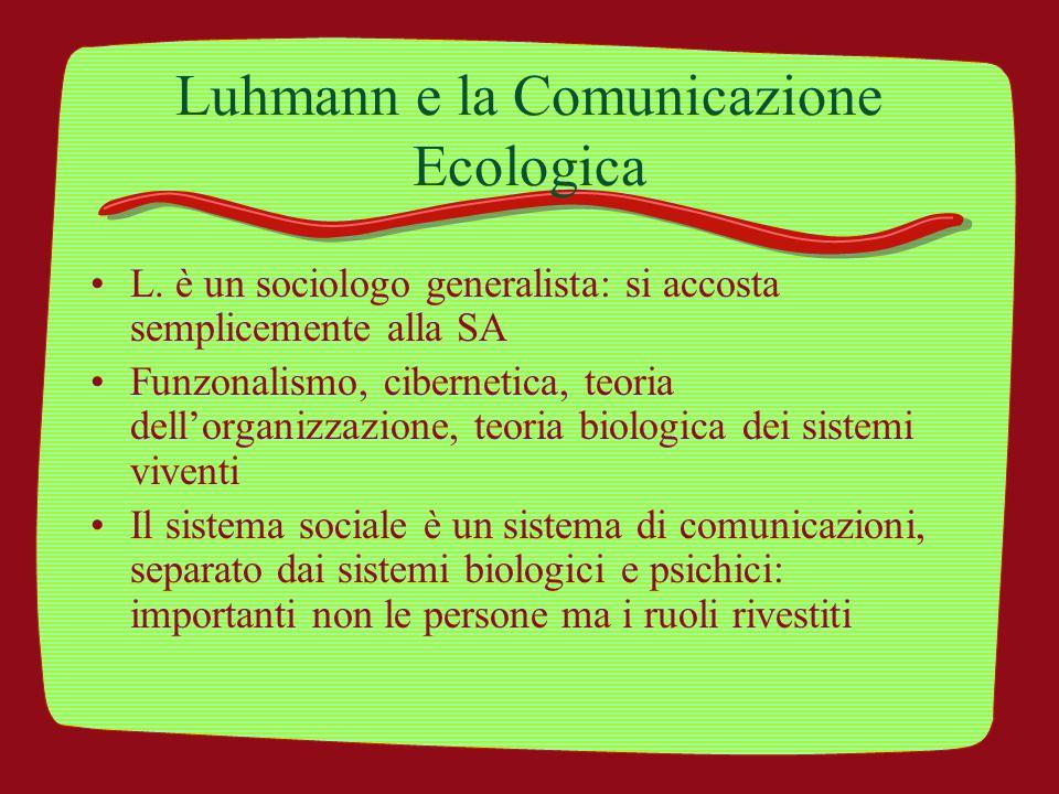 Luhmann e la Comunicazione Ecologica
