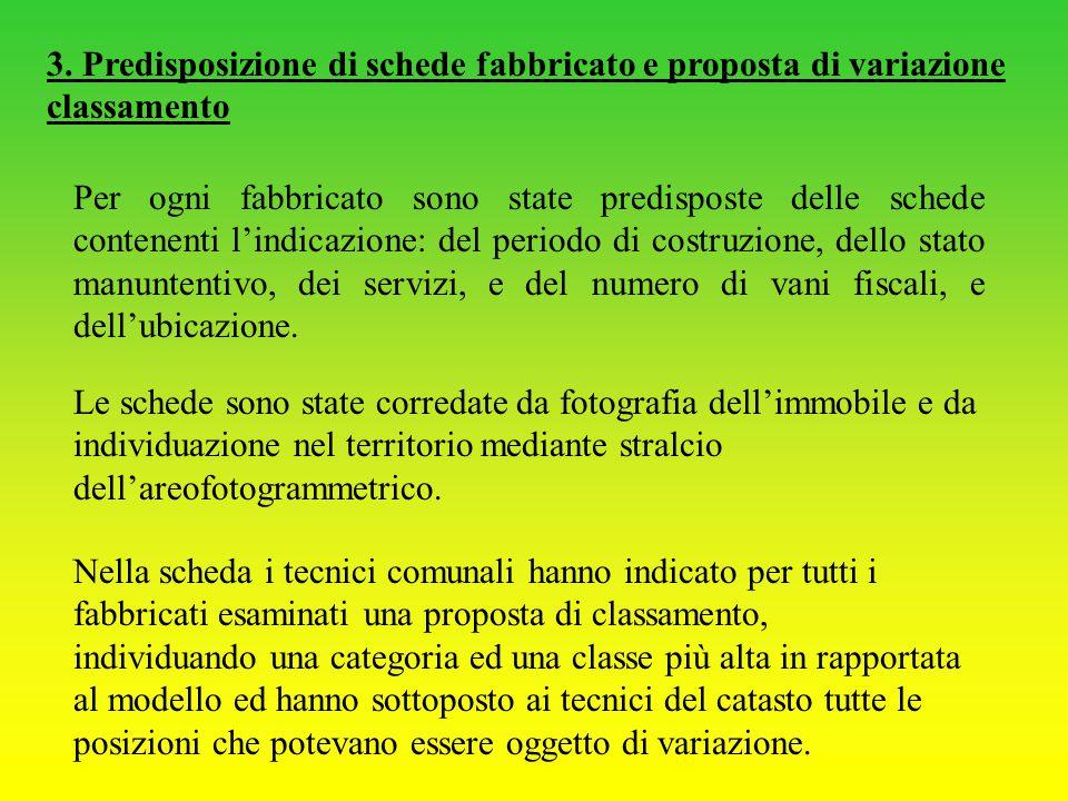 3. Predisposizione di schede fabbricato e proposta di variazione classamento