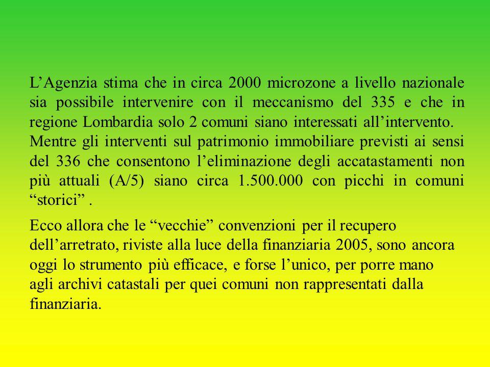L'Agenzia stima che in circa 2000 microzone a livello nazionale sia possibile intervenire con il meccanismo del 335 e che in regione Lombardia solo 2 comuni siano interessati all'intervento.