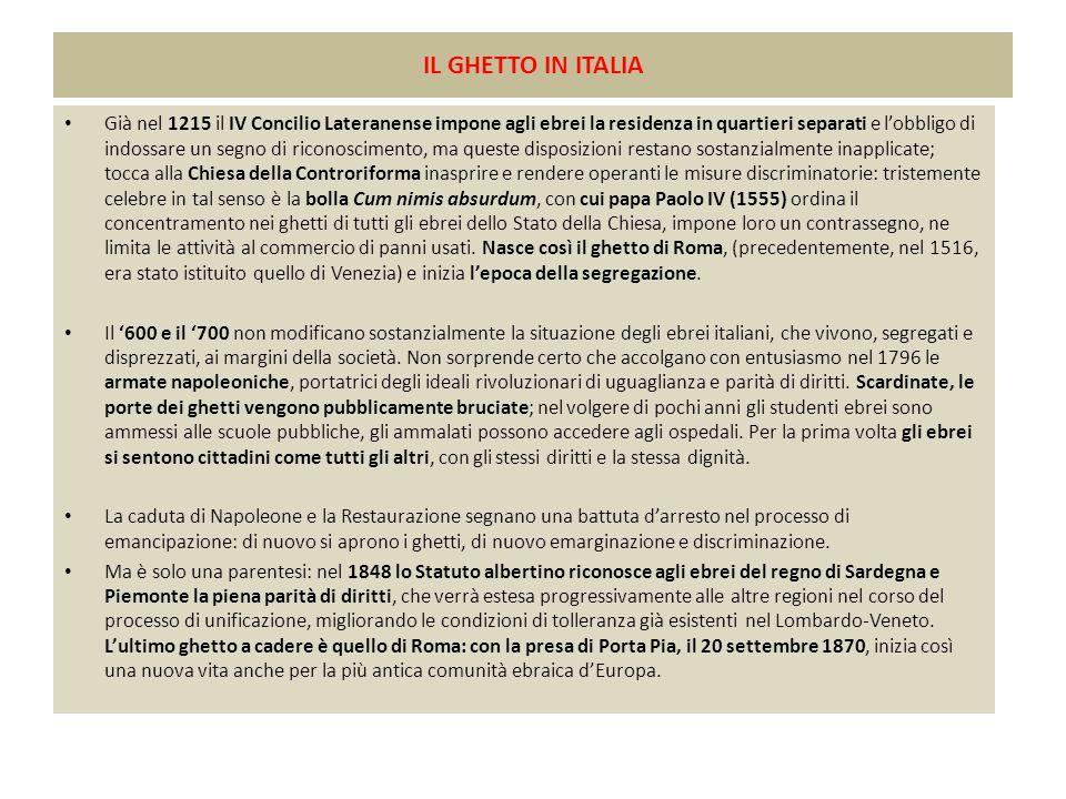 IL GHETTO IN ITALIA