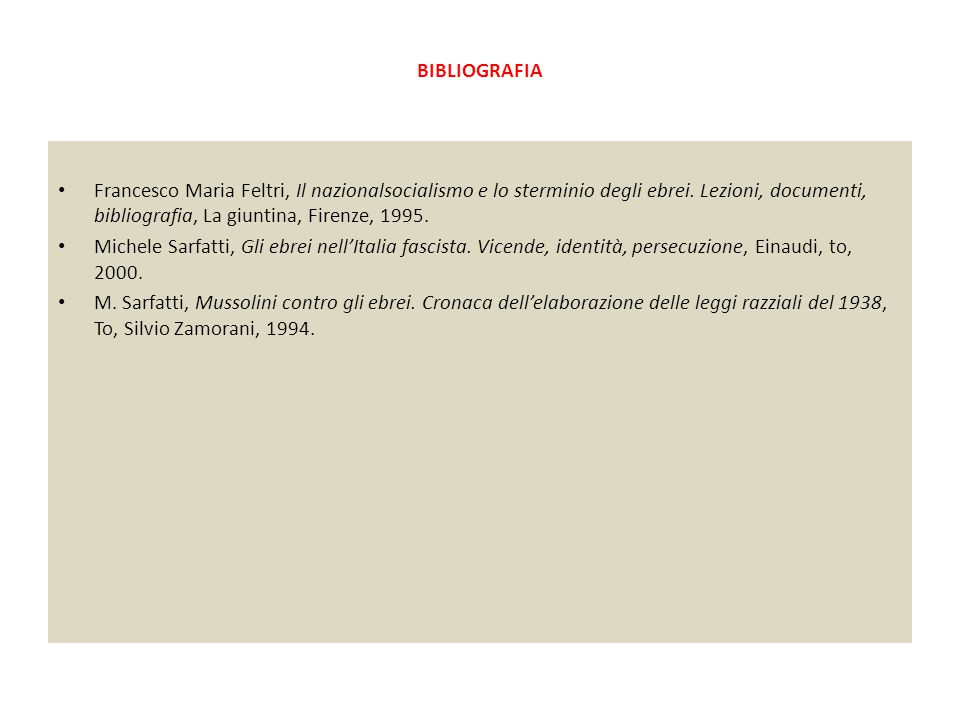 BIBLIOGRAFIA Francesco Maria Feltri, Il nazionalsocialismo e lo sterminio degli ebrei. Lezioni, documenti, bibliografia, La giuntina, Firenze, 1995.