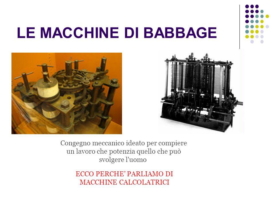 ECCO PERCHE' PARLIAMO DI MACCHINE CALCOLATRICI
