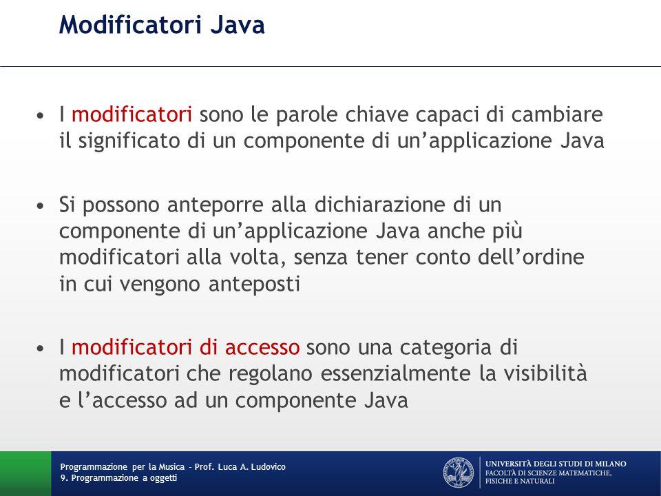 Modificatori Java I modificatori sono le parole chiave capaci di cambiare il significato di un componente di un'applicazione Java.
