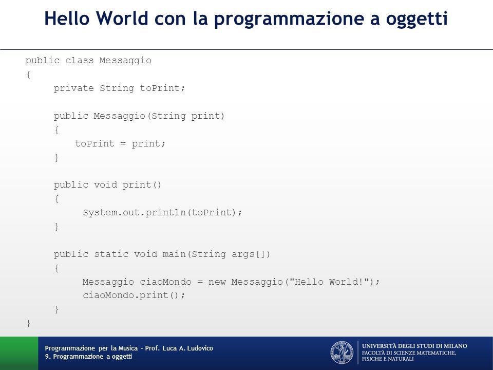 Hello World con la programmazione a oggetti