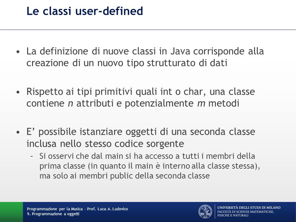Le classi user-defined