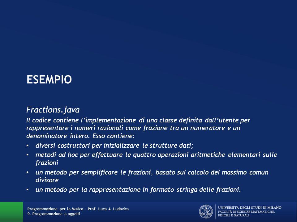 ESEMPIo Fractions.java