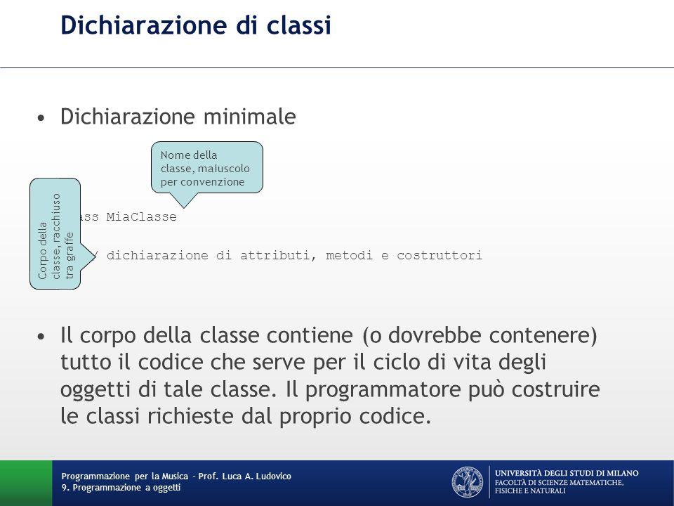 Dichiarazione di classi