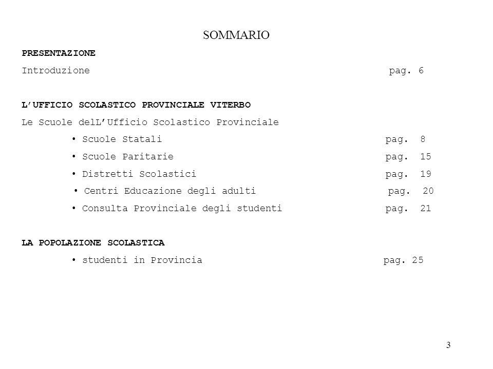 SOMMARIO PRESENTAZIONE Introduzione pag. 6