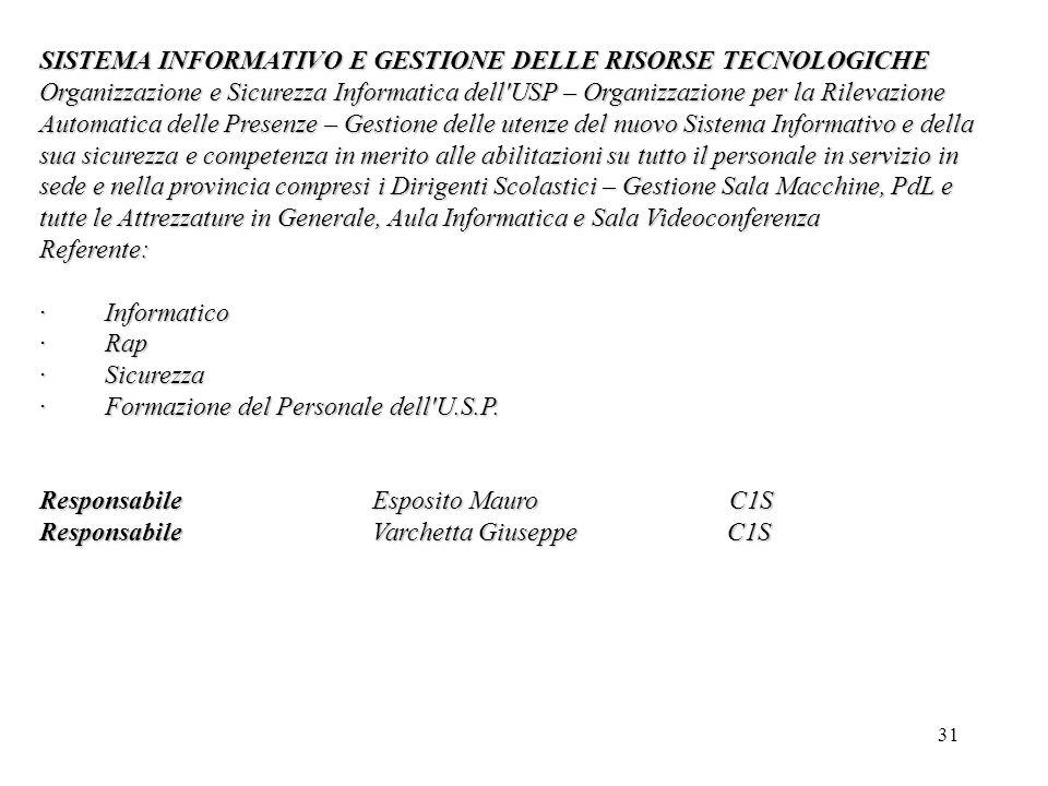 SISTEMA INFORMATIVO E GESTIONE DELLE RISORSE TECNOLOGICHE