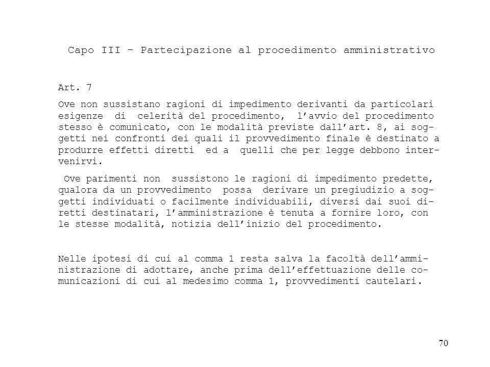 Capo III – Partecipazione al procedimento amministrativo