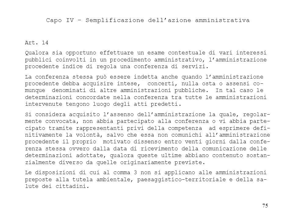 Capo IV – Semplificazione dell'azione amministrativa