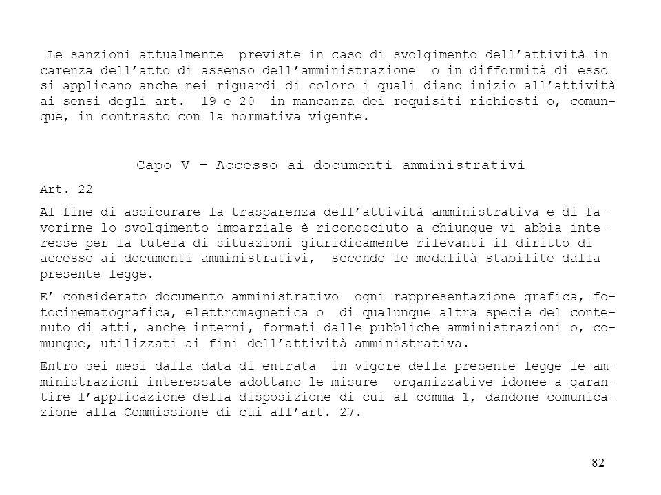 Capo V – Accesso ai documenti amministrativi