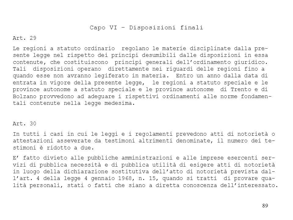 Capo VI – Disposizioni finali