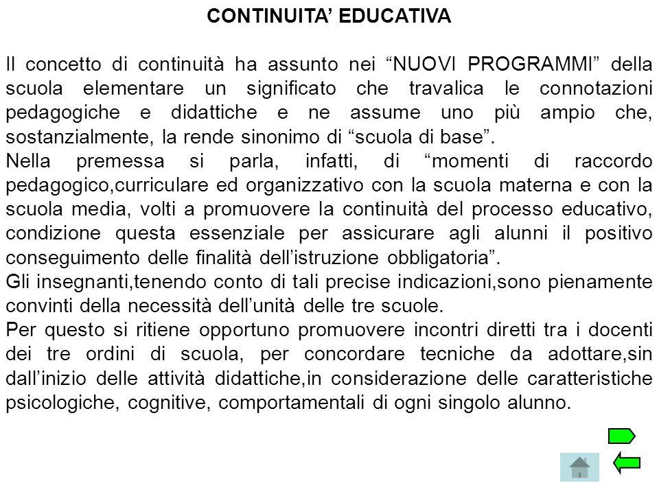 CONTINUITA' EDUCATIVA