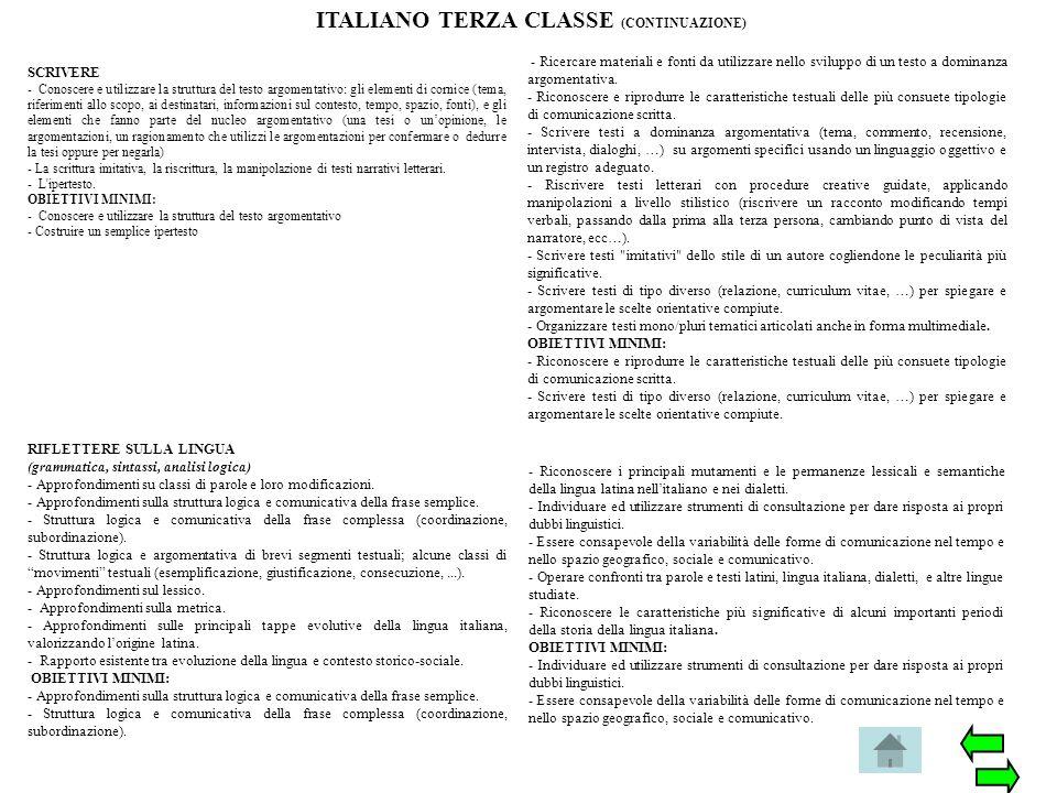 ITALIANO TERZA CLASSE (CONTINUAZIONE)