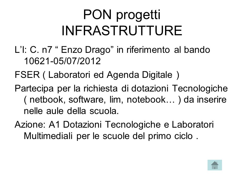 PON progetti INFRASTRUTTURE