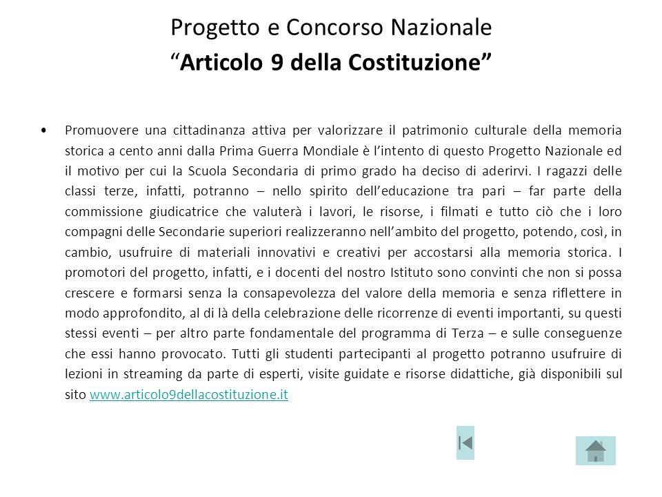 Progetto e Concorso Nazionale Articolo 9 della Costituzione