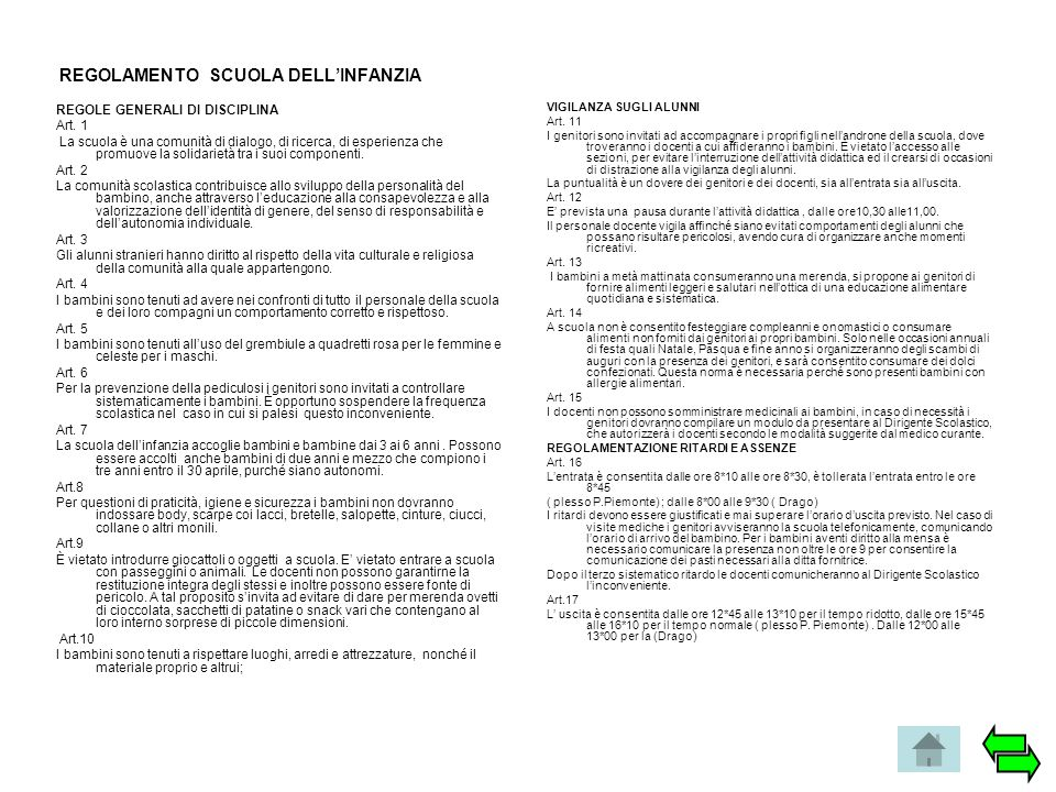 REGOLAMENTO SCUOLA DELL'INFANZIA REGOLE GENERALI DI DISCIPLINA Art. 1