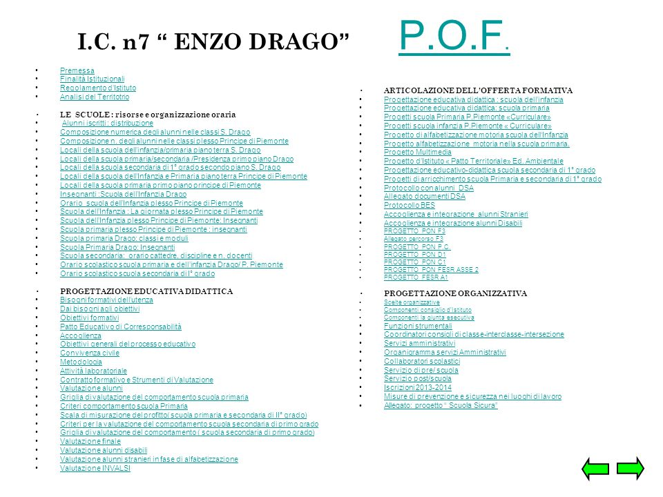 I.C. n7 ENZO DRAGO P.O.F. Premessa Finalità Istituzionali