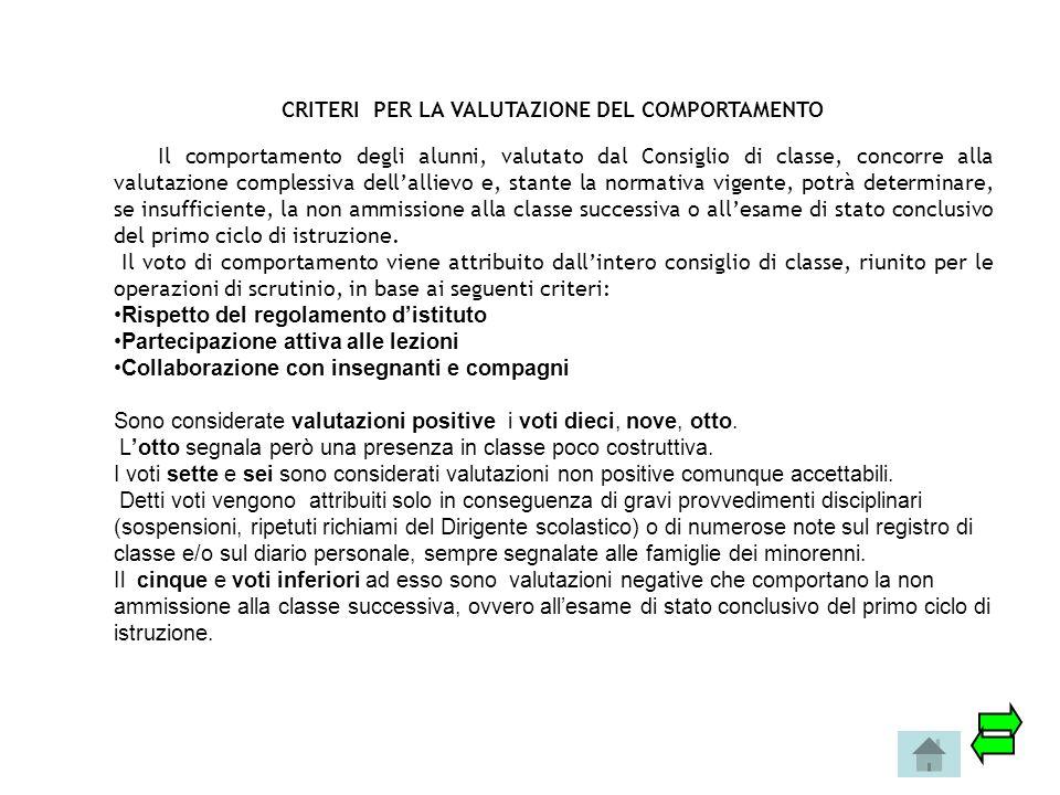 CRITERI PER LA VALUTAZIONE DEL COMPORTAMENTO