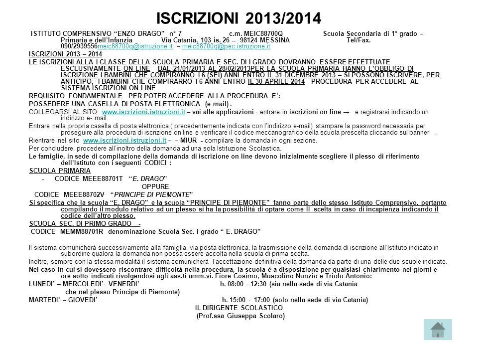 ISCRIZIONI 2013/2014