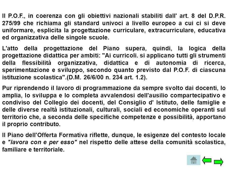 Il P.O.F., in coerenza con gli obiettivi nazionali stabiliti dall art. 8 del D.P.R. 275/99 che richiama gli standard univoci a livello europeo a cui ci si deve uniformare, esplicita la progettazione curriculare, extracurriculare, educativa ed organizzativa delle singole scuole.