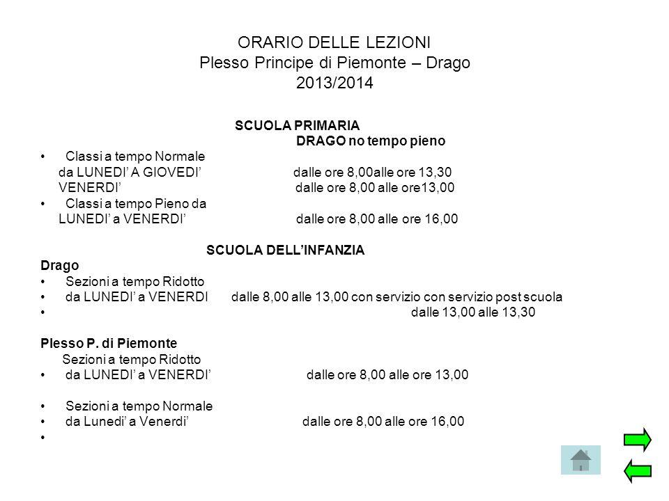 ORARIO DELLE LEZIONI Plesso Principe di Piemonte – Drago 2013/2014