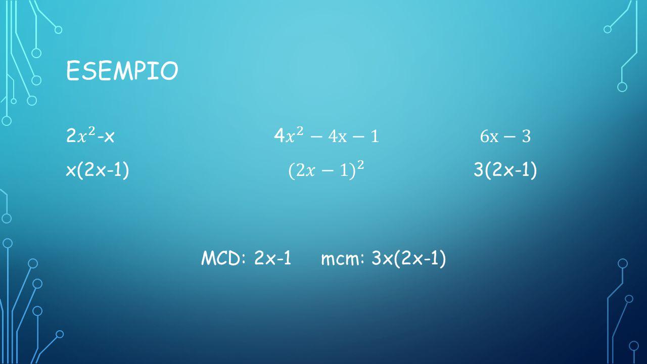Esempio 2 𝑥 2 -x 4 𝑥 2 −4x−1 6x−3 x(2x-1) (2𝑥−1) 2 3(2x-1) MCD: 2x-1 mcm: 3x(2x-1)