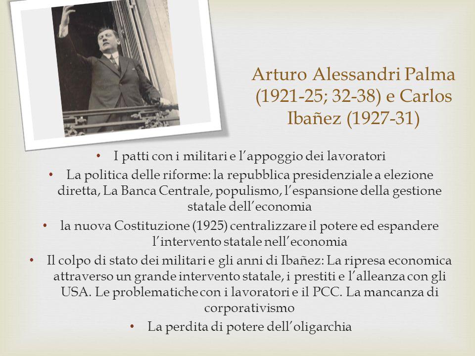 Arturo Alessandri Palma (1921-25; 32-38) e Carlos Ibañez (1927-31)