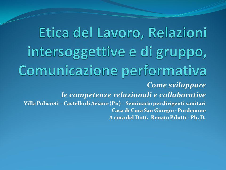 Etica del Lavoro, Relazioni intersoggettive e di gruppo, Comunicazione performativa