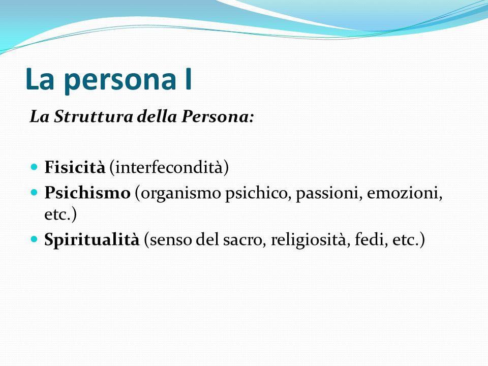 La persona I La Struttura della Persona: Fisicità (interfecondità)