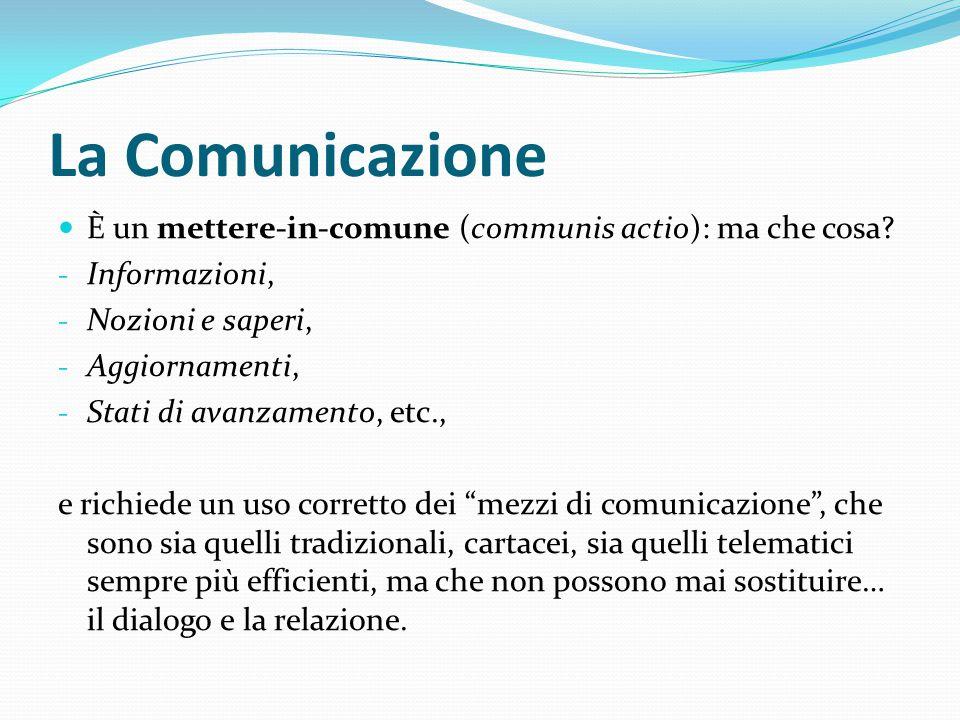 La Comunicazione È un mettere-in-comune (communis actio): ma che cosa
