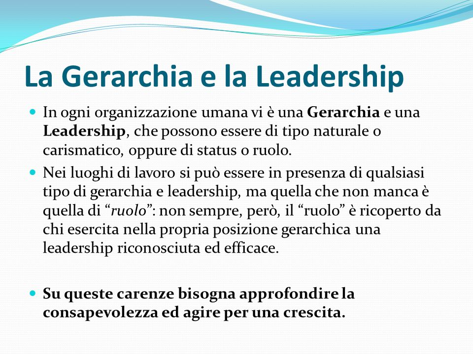 La Gerarchia e la Leadership