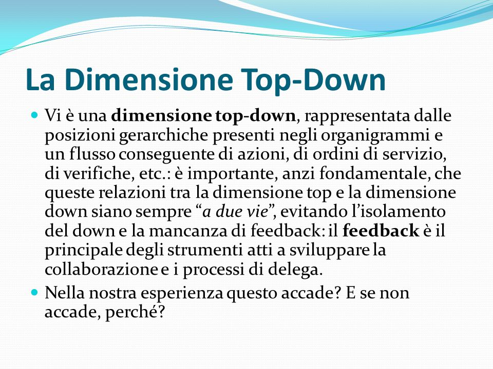 La Dimensione Top-Down