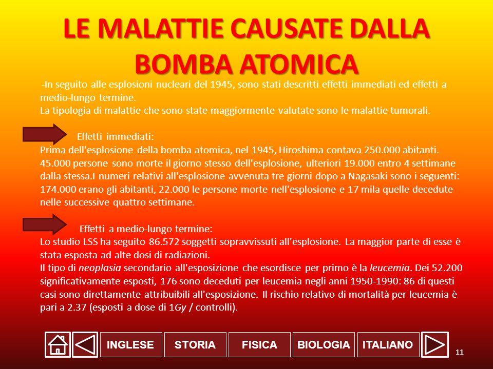 LE MALATTIE CAUSATE DALLA BOMBA ATOMICA