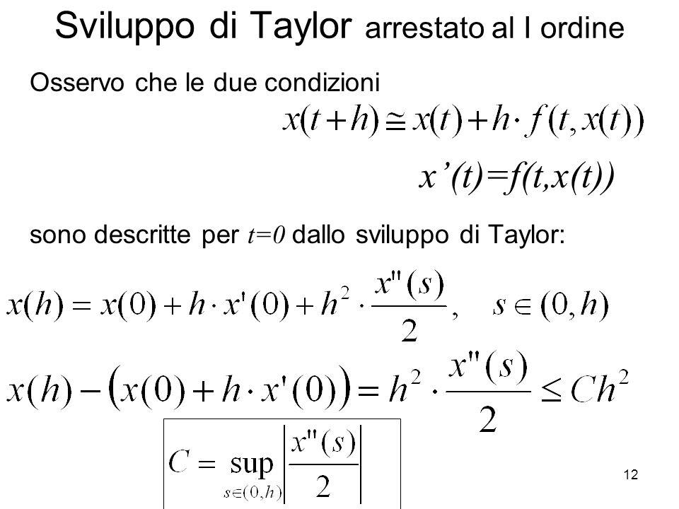 Sviluppo di Taylor arrestato al I ordine