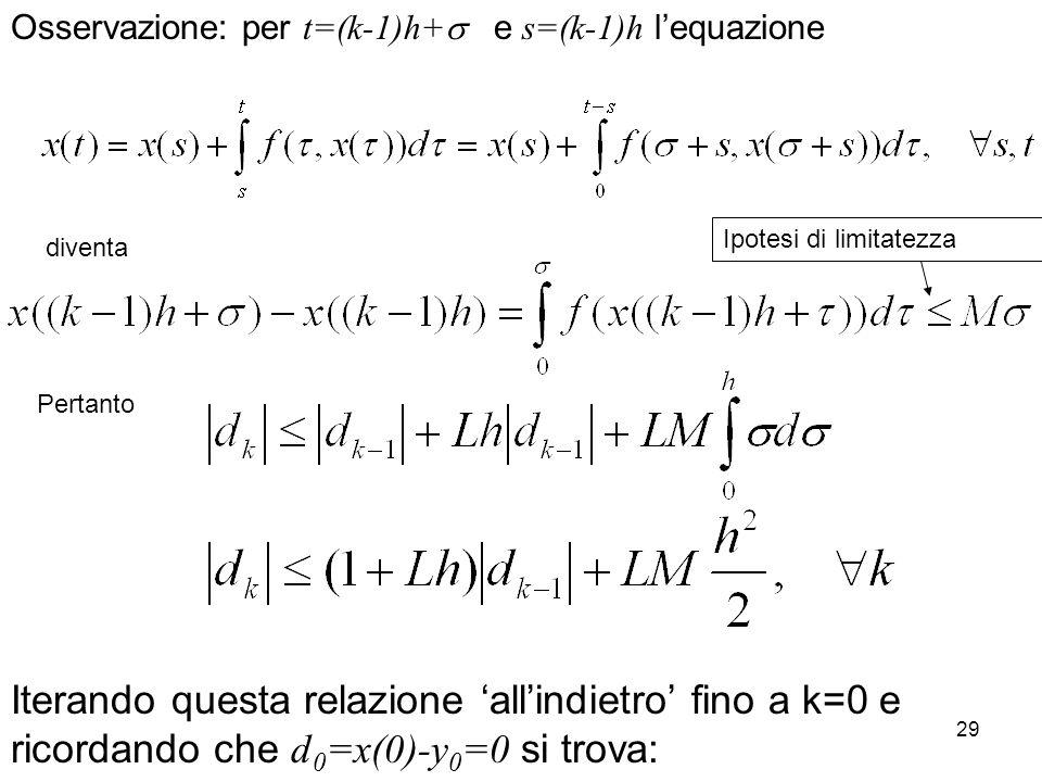 Osservazione: per t=(k-1)h+ e s=(k-1)h l'equazione
