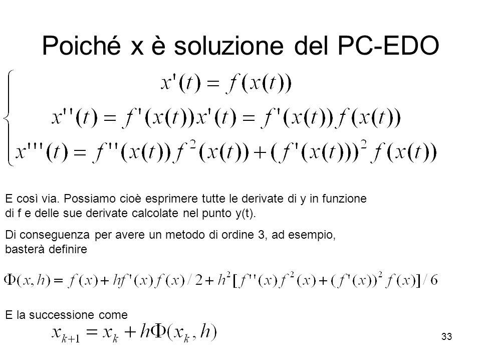 Poiché x è soluzione del PC-EDO