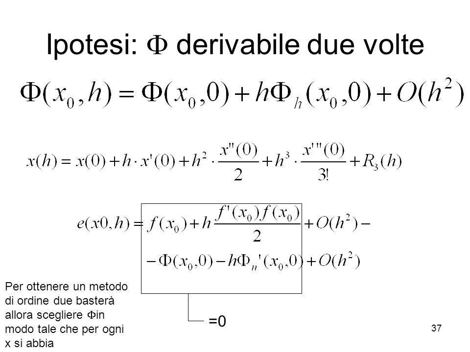 Ipotesi:  derivabile due volte