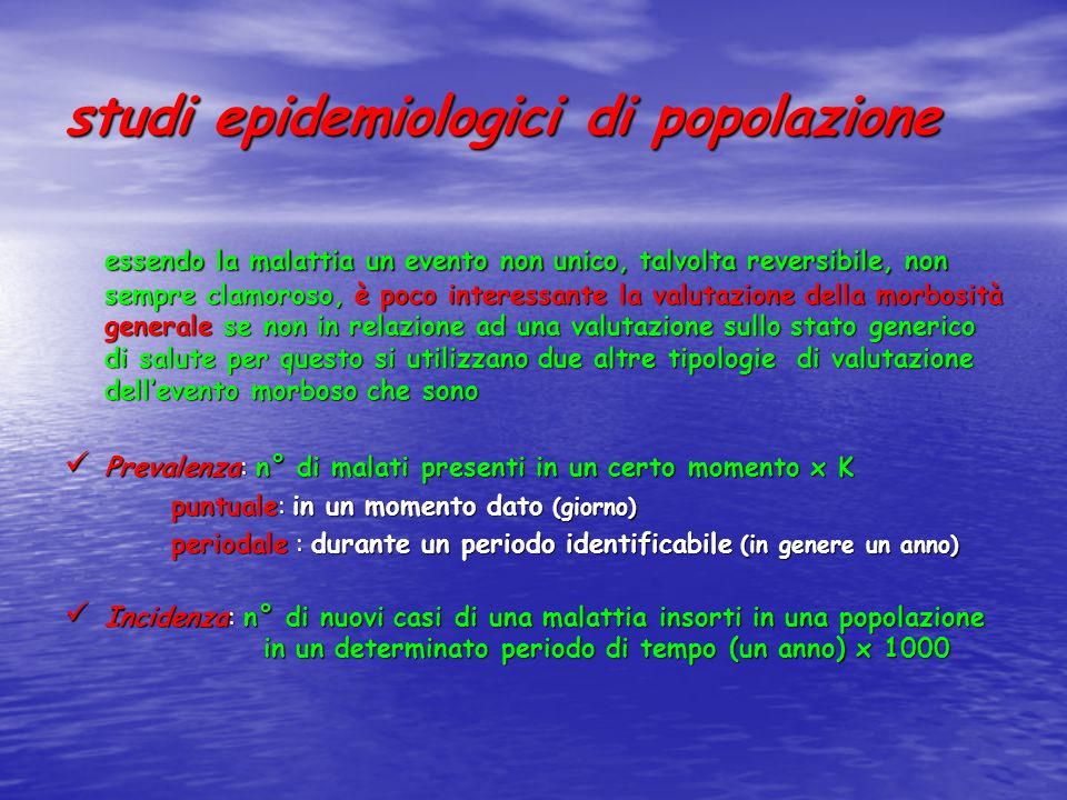 studi epidemiologici di popolazione