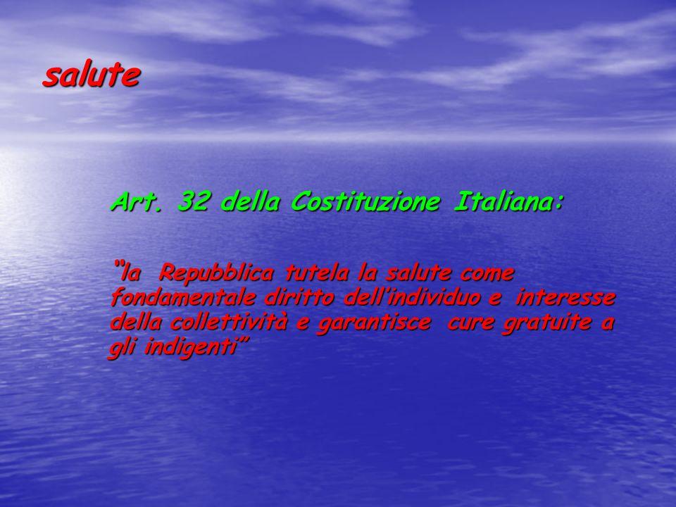 salute Art. 32 della Costituzione Italiana: