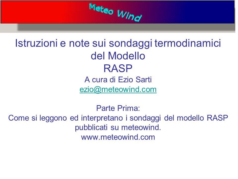 Istruzioni e note sui sondaggi termodinamici del Modello RASP A cura di Ezio Sarti ezio@meteowind.com Parte Prima: Come si leggono ed interpretano i sondaggi del modello RASP pubblicati su meteowind.