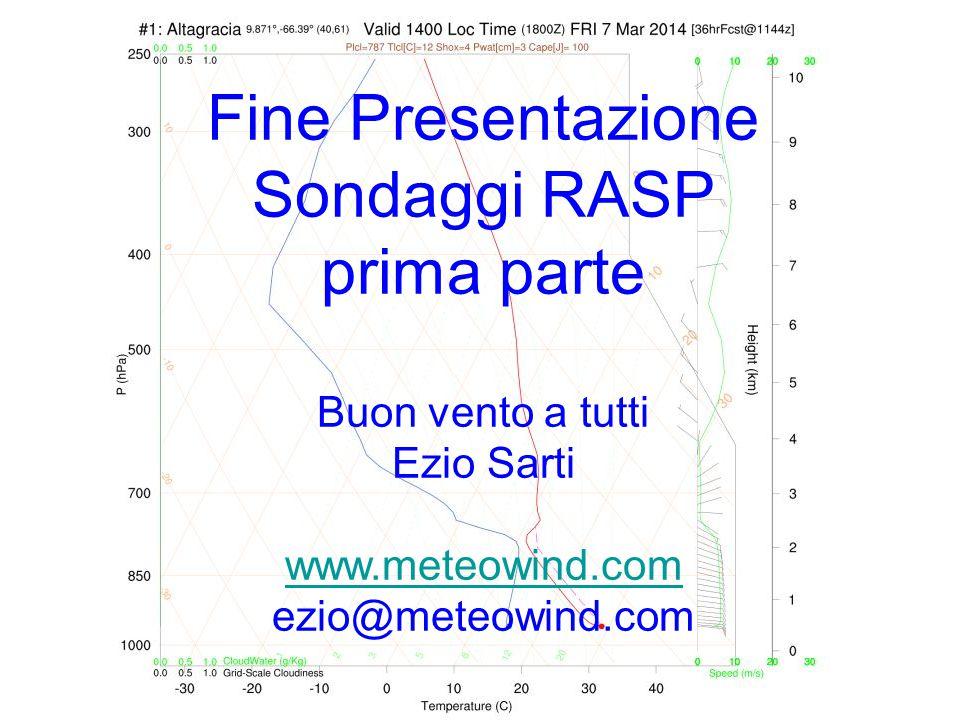 Fine Presentazione Sondaggi RASP prima parte Buon vento a tutti