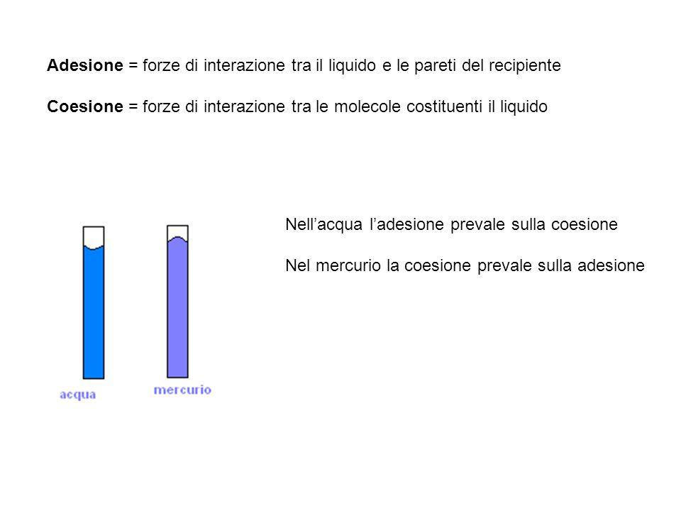 Adesione = forze di interazione tra il liquido e le pareti del recipiente