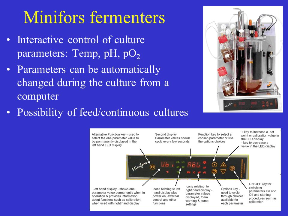 Minifors fermenters Interactive control of culture parameters: Temp, pH, pO2.