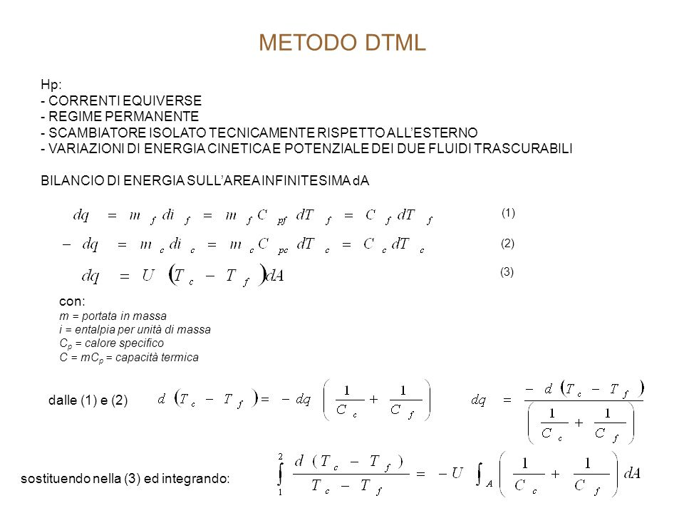 METODO DTML Hp: - CORRENTI EQUIVERSE - REGIME PERMANENTE